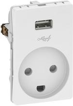 LK Fuga Stikkontakt med jord og 5V USB lader, 1½ modul, Hvid