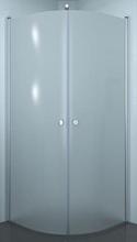 Dansani Match afrundet brusehjørne 90 x 90 cm med satin profil og frostet glas - Model 7