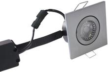 Nordtronic Low Profile Flexible 33 Firkantet Indbygningsspot 6W/827 LED, Børstet stål