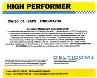 High Performer 5W-30 SAPS C1 Ford+Mazda+Volvo 1 Liter Burk