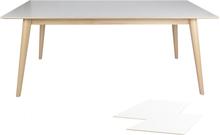 Nora spisebord - Længde 195/285 cm (Hvid/træ) m. tillægsplader