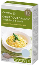 Clearspring Quick Cook Hirse, grønne ærter, røde linser Ø, 250g.