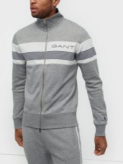 Gant D1.Gant Stripe Sweat Zip Through Trøjer Grey Melange