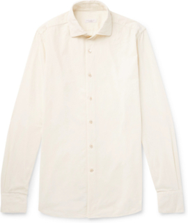 Ween Slim-fit Cutaway-collar Cotton-corduroy Shirt - Cream