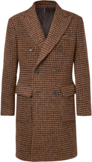 Slim-fit Double-breasted Houndstooth Alpaca-blend Coat - Brown
