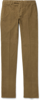 Slim-fit Garment-dyed Stretch-cotton Corduroy Trousers - Tan
