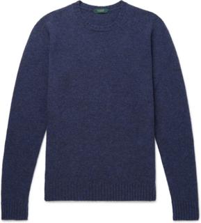 Brushed Virgin Wool Sweater - Blue