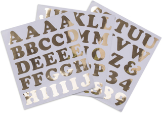 Large alphabet stickers numbers and letters gold 71 stickers ...