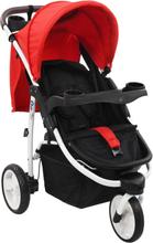 vidaXL Sittvagn 3 hjul röd och svart