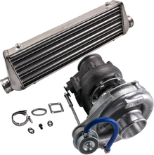 T04E T3 T4 Turbo Charger + 27 x 7 x 2.5 2.5 inch Intercooler 64mm Turbo Pipe Kit