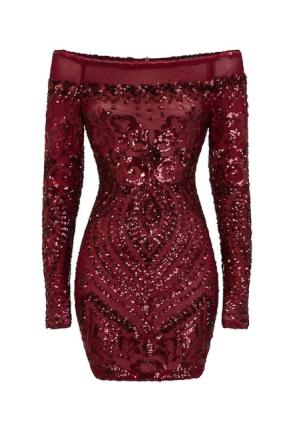 Vestry.com Luxe Off den skuldra paljett förskönat klänning Berry 10