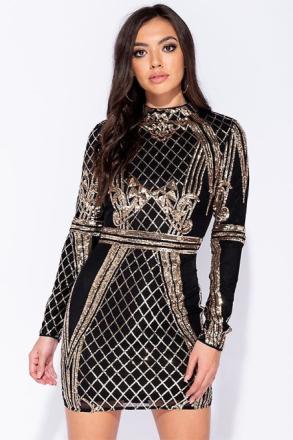 Paljett Front hög hals Bodycon Mini klänning