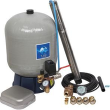 "Komplett 3"" pumppaket inkl. SQE2-70 pump och glasfiberarmerad tank - Pumpdjup: 50 m"