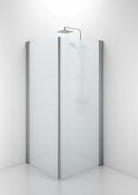 Ifö Space rak dörr m/handtagsprofil 80 cm, frostat glas/matt alu profil - Endast 1 dörr