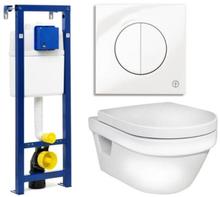 Gustavsberg vägghängt toalettpaket inkl. 5G84 toalett, Trimont XS cistern och vit spolknapp
