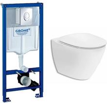 Toalettpaket med vägghängd Ifö Spira Art toalettskål och Grohe inbyggningscistern