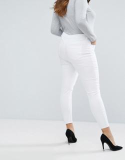 ASOS DESIGN Curve— Ridley— Hvide skinny jeans med høj talje