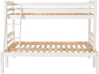 Zebra Collection ~ LINEA våningssäng med bredare undersäng Vitlaserad