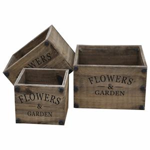 Chic Antique - Gl. trækasser Flowers & Garden - sæt af 3
