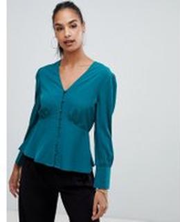 Boohoo - Blågrön blus med knappar - Flerfärgad