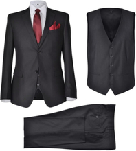 Vidaxl tredelad business kostym herrar strl. 48 svart