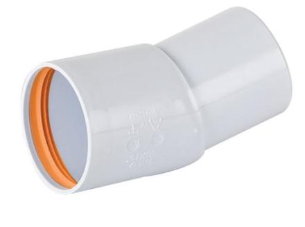 Vinkel 50 mm x 15° (muff x slätända) - vit