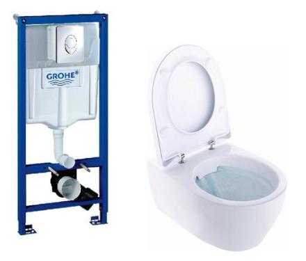 Toalett paket med Ifö Icon vägghängdtoalett och grohe cistern