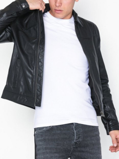 Topman Leather Harrington Jacket Jakker Black