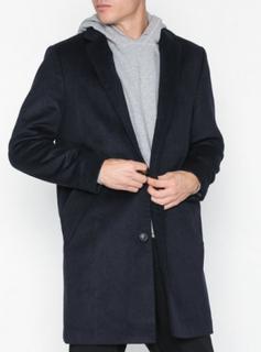 Topman Navy Overcoat Containing Wool Jakker & frakker Dark Blue