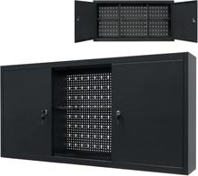vidaXL vægmonteret værktøjsskab industrielt metal 120 x 19 x 60 cm sort