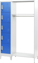 vidaXL Förvaringsskåp med klädstång blå och grå 110x50x180 cm metall