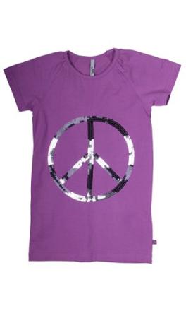 T-shirt lilla med peace mærke - Fransa kids