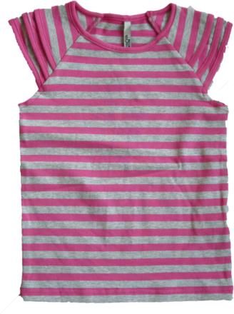 T-shirt korte ærmer super pink med gråt - Fransa kids
