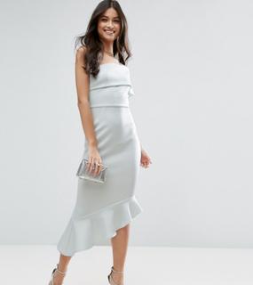 ASOS PETITE Scuba One Shoulder Pephem Midi Dress - Blue