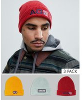 Analog Beanie 3-Pack in Red/Yellow/Grey - Multi