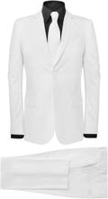 Vidaxl tvådelad kostym med slips herr strl 48 vit