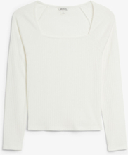 Ribbed square neck top - White