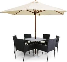 Rund matgrupp med parasoll och 6 stolar i konstrotting