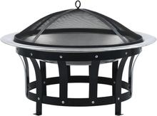 vidaXL bålfad med grill rustfrit stål 76 cm