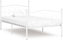 vidaXL Sängram med ribbotten vit metall 100x200 cm