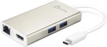 J5 create USB 3.1 hubb med Gigabit Ethernet och HDMI, USB Typ C ha