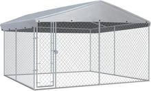 vidaXL Hundgård med tak för utomhusbruk 3,8x3,8x2,4 m