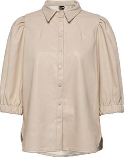 Mila Puff Sleeve Shirt Bluse Langermet Beige Gina Tricot
