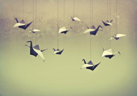 Origami Birds Tapetit / tapetti 100 x 100 cm