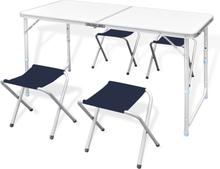 vidaXL Campingbord med 4 pallar set Aluminium 120 x 60 cm