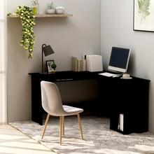 vidaXL L-formet hjørneskrivebord 120 x 140 x 75 cm spånplade sort