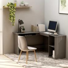vidaXL Skrivbord L-format grå högglans 120x140x75 cm spånskiva