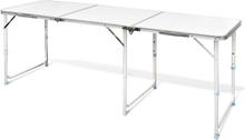 vidaXL Sammenfoldeligt højdejusterbart camping bord i aluminium, 180 x 60 cm
