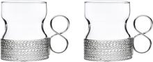 Tsaikka glas med hållare 23 cl 2-pack silver