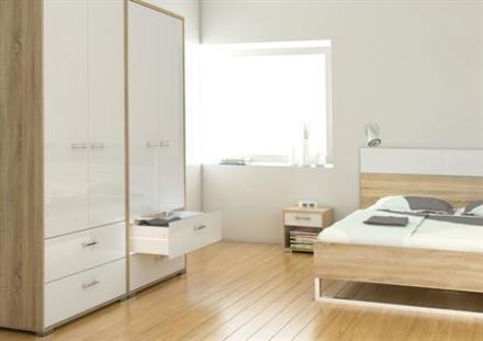 Home garderobeskab 2 dørs højglans/eg NU MED SKUFFER